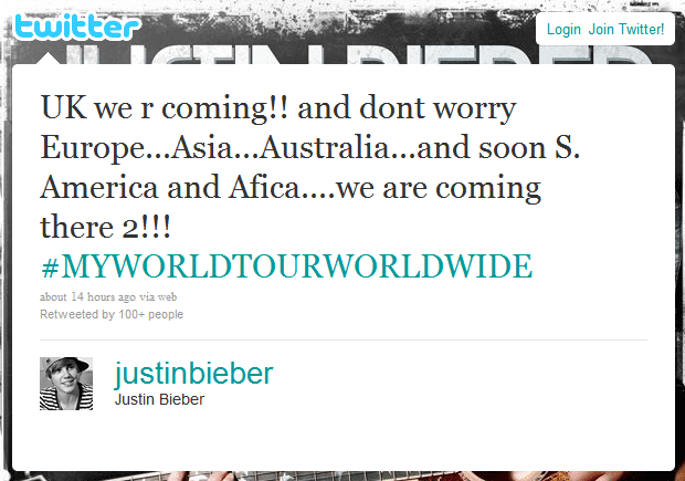 Justin Bieber announces 2011 UK tour on his Twitter